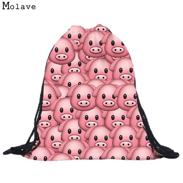 Naivety New Unisex Fabric Backpack Cute Pig Drawstring Backpacks 3D Printing Bag Bolso S61222 drop shipping