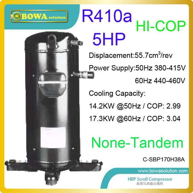 5HP R410a refrigerant scroll compressors are used in cold and heat integrated temperature machines or oil coolers