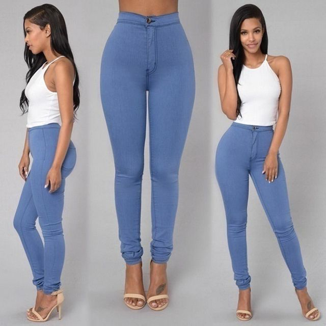 Women Sexy  Solid Casual Jeans High Waist Pencil Pants Denim Jeans Stretch Skinny Leggings Pants Slim Fit Long Trousers  C8128
