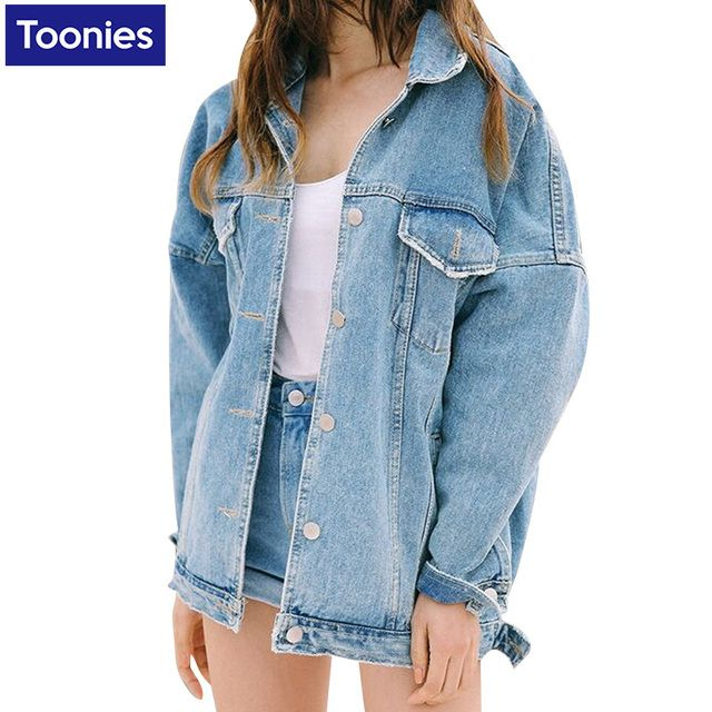 Denim Jacket Full Sleeve Women Coat Outwear Streetwear Jeans Jackets Oversize For Ladies Solid Loose Women Autumn Jacket Women