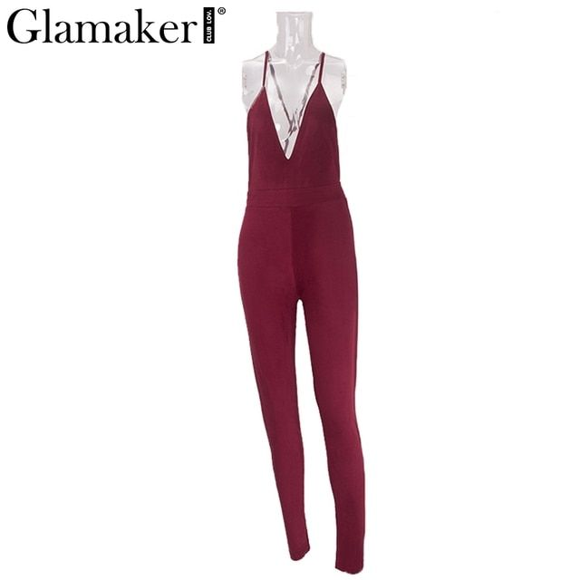Glamaker Elegant evening party suede women jumpsuit Sexy deep v neck backless jumpsuit Girls long pants red bodycon playsuits