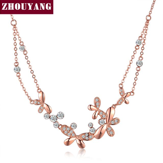 ZHOUYANG Top Quality Butterfly Love Flowers Rose Gold Color Pendant Necklace Jewelry Austrian Crystal Wholesale N037 N038 N067