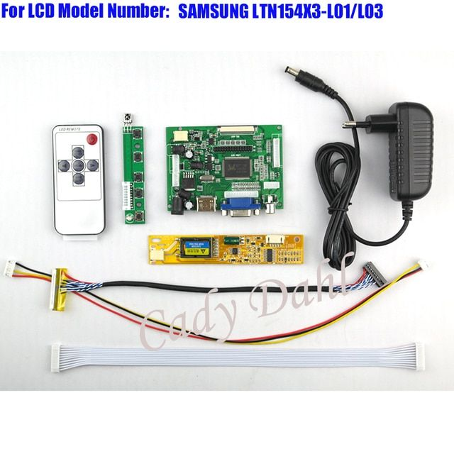 HDMI VGA 2AV Controller Board + Backlight Inverter + 30P Lvds Cable + Remote for LTN154X3-L01 L03 1280x800 1ch 6bit LCD Display