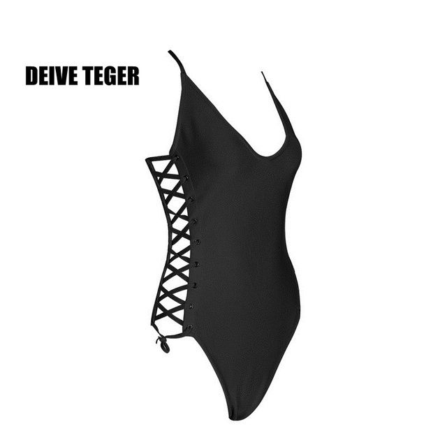 DEIVE TEGER ONE PIECE  Slim Side Cross Lace Up Open Cut pool Party Women Beach Bandage Summer Top Sexy HL2442