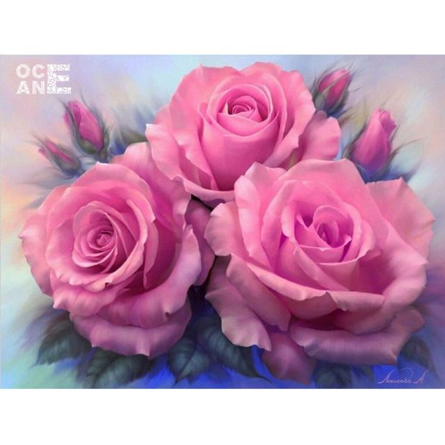 Needlework diy diamond painting cross stitch canvas printing whole diamond embroidery pink flowers 100% square drill RW407