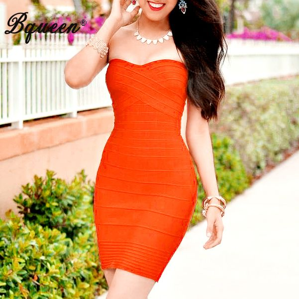 Bqueen 2017 Striped Strapless Mini Bandage Dress Women's Sexy Night Club Party Bodycon Dress Summer Clearance
