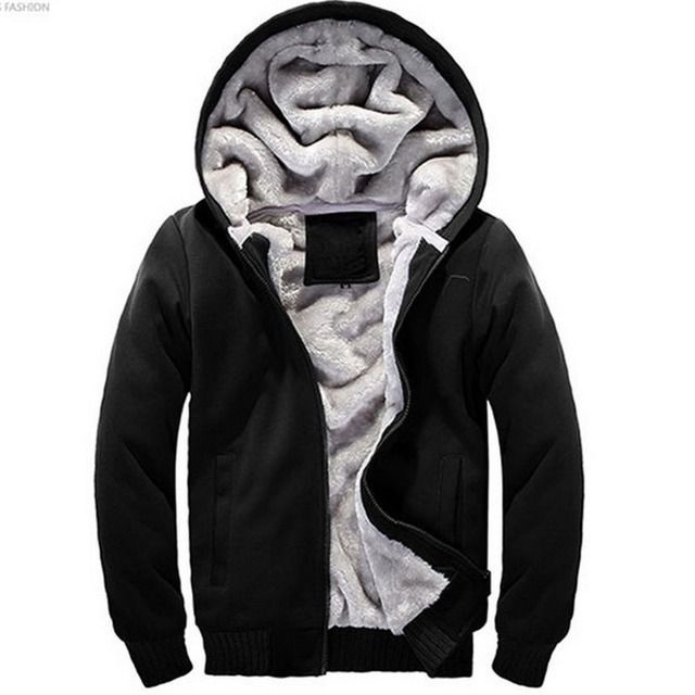 2018 New Winter Thinck Mens Hoodies Sweatshirts Long Sleeved Solid Zipper Coat Add Cotton Sweatshirt Fashion Outwear Plus 4XL