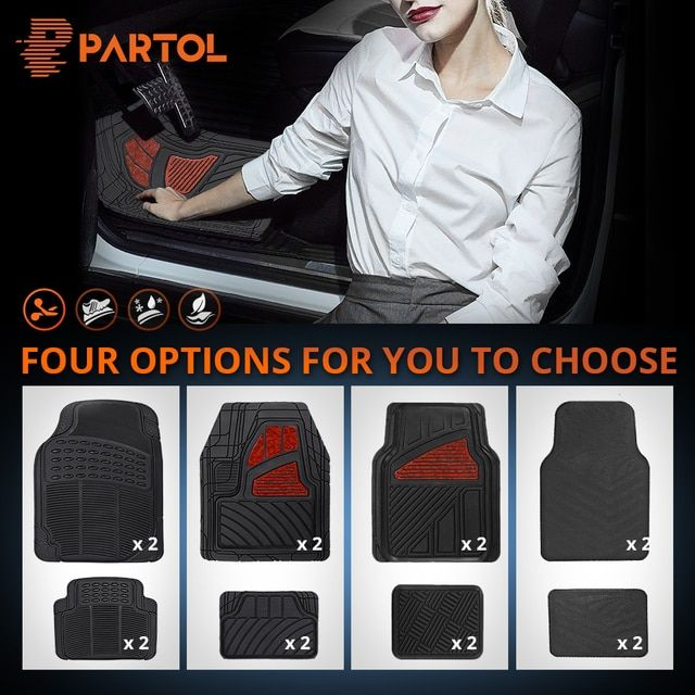 Partol 4Pcs/Set Car Waterproof Floor Mats Universal PVC Auto Floor Mats Car Carpet for Lada Honda KIA BMW Toyota VW Golf Mazda