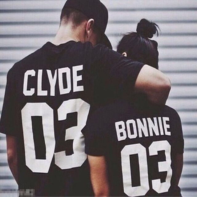 NEW fashion black white women Summer style BONNIE CLYDE 03 Funny letters couple  t shirt cotton short sleeve camisetas mujer