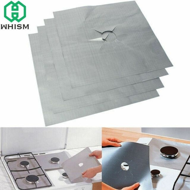 WHISM 4PCS Aluminum Foil Gas Stove Cover Reusable Gas Stove Burner Liner Mat Pad Home Kitchen Tools Fit Almost Gas Stoves