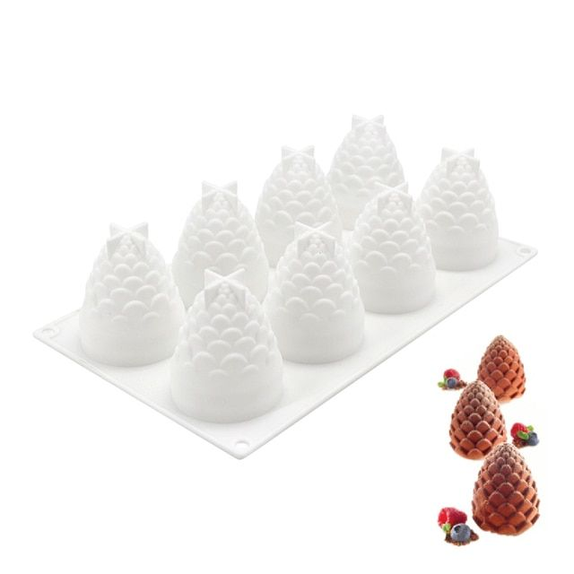 8 Cavities Silicone Cake Mould Pinecones Shape For Baking Cakes Pastry Mousse Decorating Tool