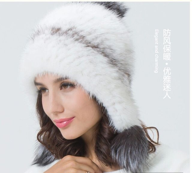 Factory Price Classic design luxury Real Mink Fur knitted Hats with fox fur pompom Femme bonnets de fourrure veritable de vison