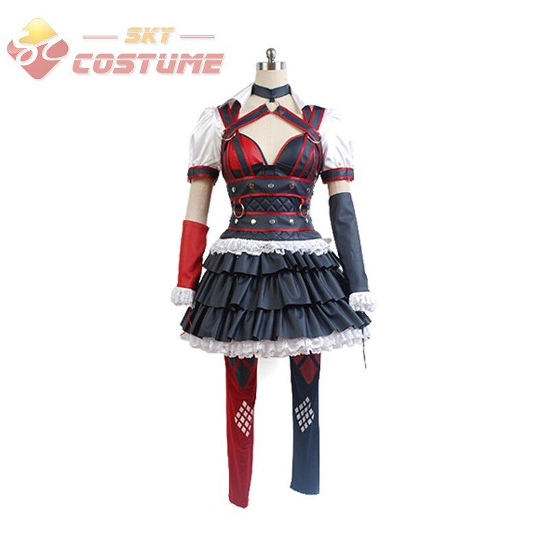 Batman Costume Arkham Asylum Harley Quinn Cosplay Costumes Halloween Carnival Party Dress Dark Knight For Adult Women Full Set