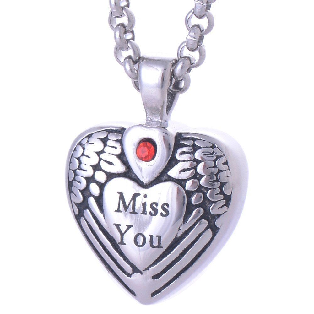 "Vintage 316L Stainless steel ""Miss You"" Heart pendant necklace cremation keepsake ash urn pendant necklace IRLY005"