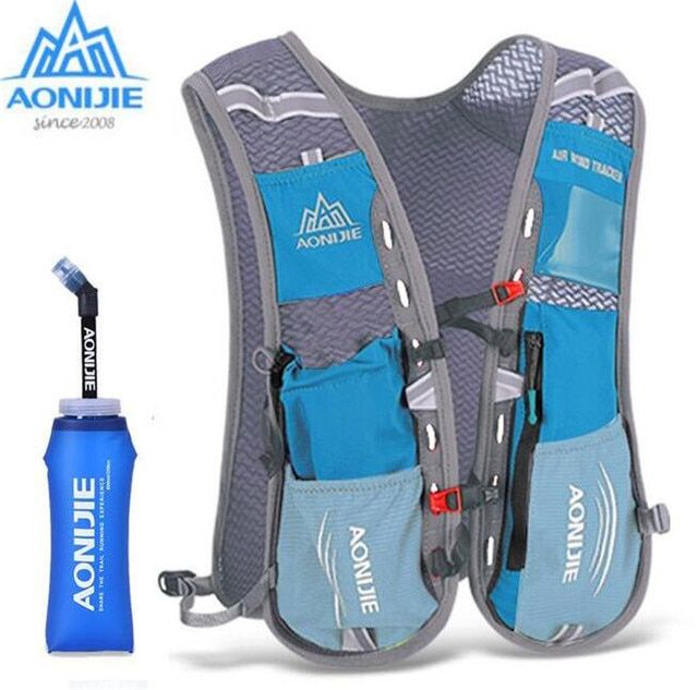 AONIJIE 5L Men Women Running Backpack Outdoor Sports Trail Racing Marathon Hiking Fitness Bag Hydration Vest Pack 600ml Kettle