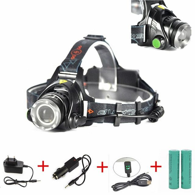 3800Lumen XML T6 LED Zoom Headlamp Headlight Head light lamp Camping Fishing AA 18650 linterna frontal + Battery Charger