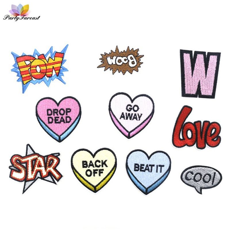PF POW Letter Patch Kids Cartoon Iron On Patches For Clothes Stickers Stripe Embroidery Patch for Clothing Applique Crafts RH006