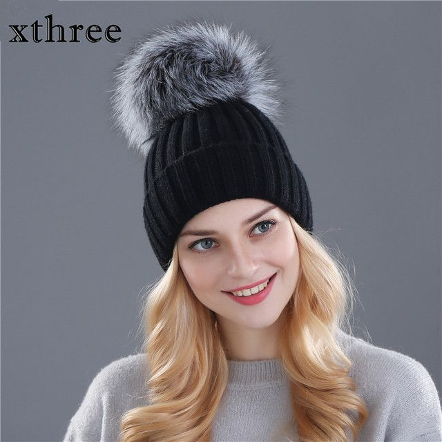 Xthree 15cm big real fox fur pom poms and knitted beanies winter hat for women girl 's Skullies hat wholesale