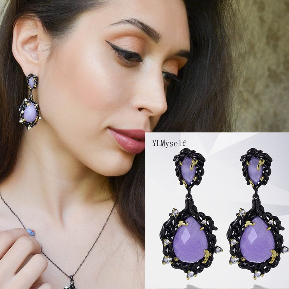 Large Teardrop earrings with Big Crystal Purple Stone Long chandelier design In Black Gold color Big Classic Earrings
