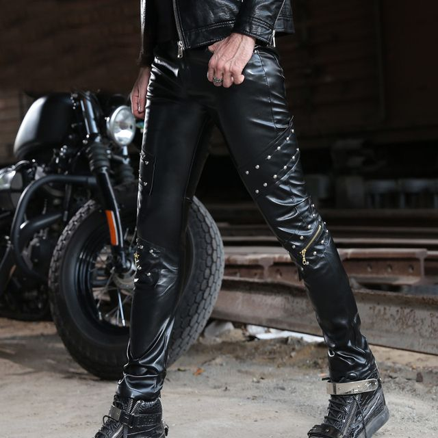 Slim Body Men's PU Personality Rivet Leather Pants Performance Cool Rivet Night Club Singer Leather Pants Fashion Rock Trousers