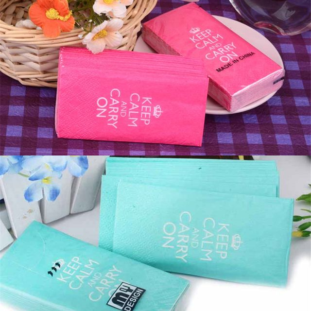 HAOCHU 50pcs Wedding Decor Keep Calm Letter Tissue Birthday Paper Napkins Festive Party Supplier Guardanapo Pink Blue Serviettes