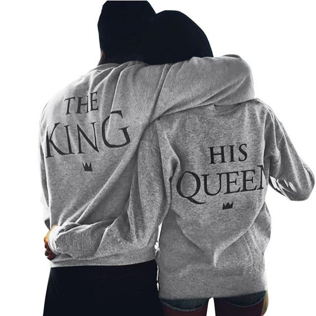 Men and Women Lovers Sweatershirts The King and The Queen Printed sweatshirt couple king queen Size:S-XL Free Shipping