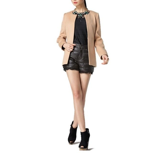 Women Winter Short Suit Coat Jacket Solid Slim Covered Button Cashmere O-neck Fashion Plus Size S-XL