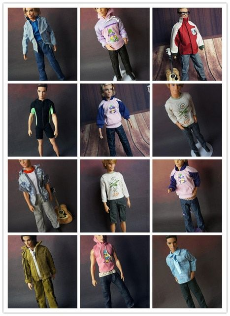 5 sets clothes For Barbie boyfriend Dolls 1/6 ken nice baby toys Girls Gift pullip boy Doll Accessories casual suit lot clothing