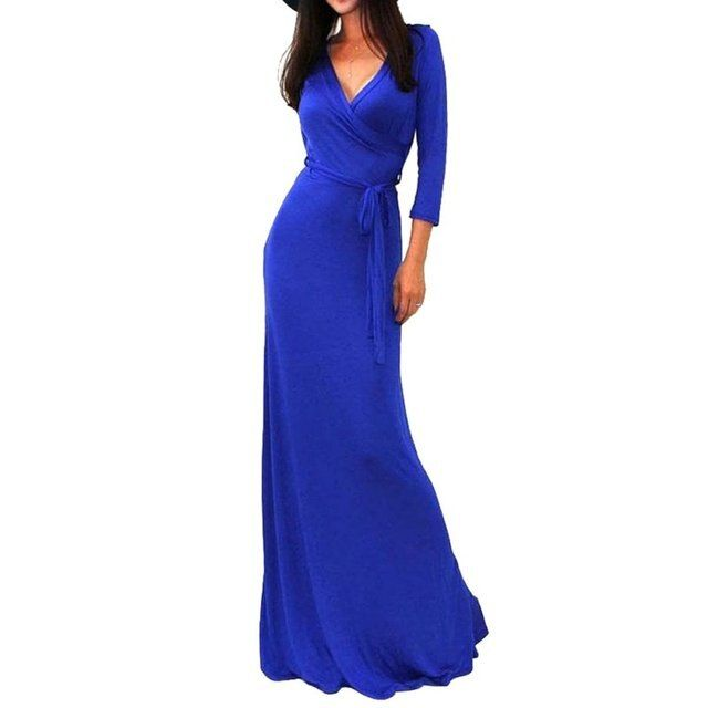 Sexy Women Package Maxi Dress Fashion V-neck Long Sleeve Solid Long Casual Dresses nz17
