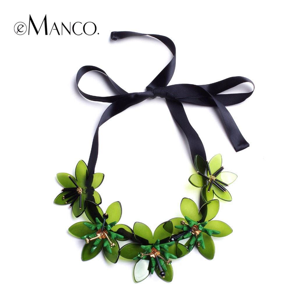 eManco Trending Now 4 Color Flowers Statement Necklace & Pendant Women Green Resin Rhinestones Ribbon Adjustable Brand Jewelry