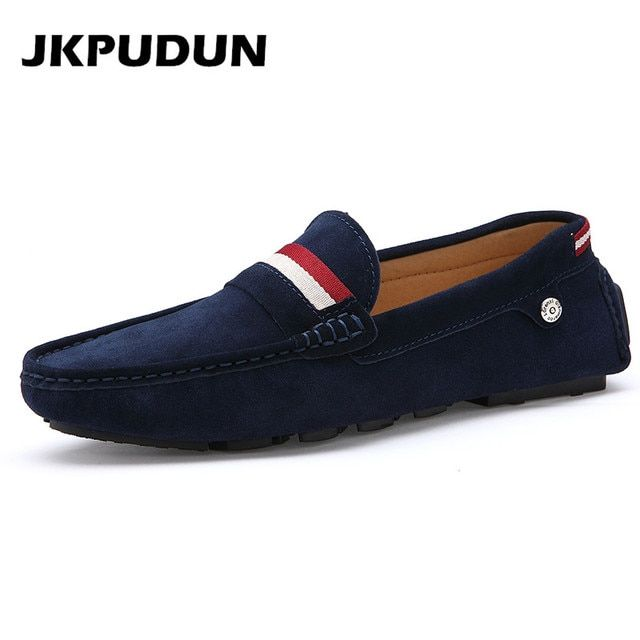Big Size Mens Flats Loafers Luxury Brand Suede Leather Driving Shoes Italian Fashion Casual Shoes Man Designer Blue Espadrilles