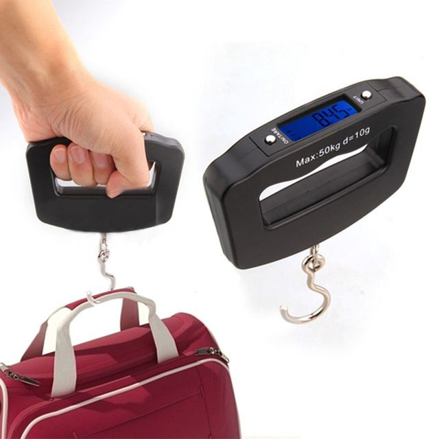 Portable Mini Digital Hand Held 50Kg*10g Fish Hook Hanging Scale Electronic Weighting Luggage Scale Blue Backlit LED Display