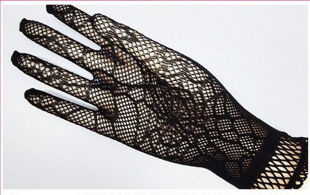 Pure cobweb spiderweb black lady girl Sexy Disco dance performance costume party lace finger fishnet mesh short warmer gloves