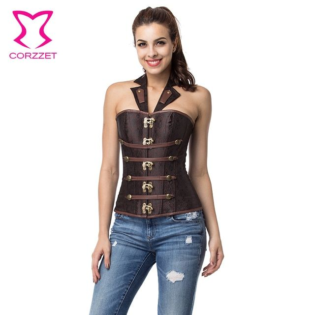 Brown Halter Neck Collar Gothic Button Bustier Sexy Women's Corset Top Steel Boned Corsets and Bustiers Steampunk Clothing