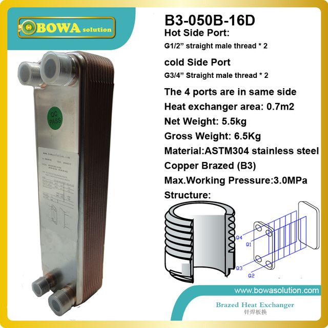 16 plates Brazed Plate Heat Exchanger SUS304 Stainless Steel,recirculating chiller exchanger