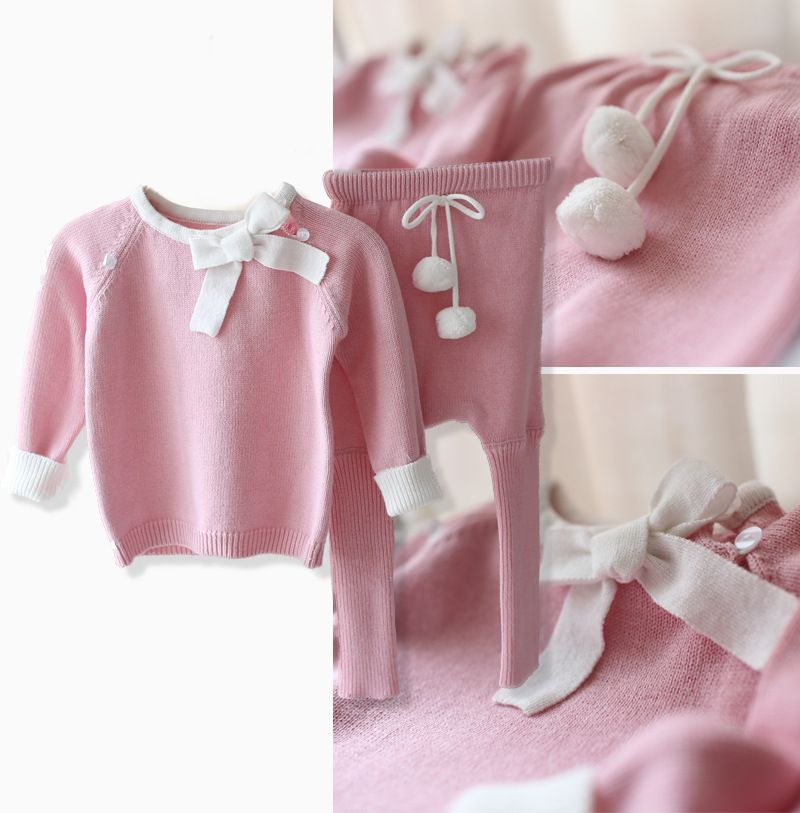 New 2016 spring autumn Knitwear baby girls clothes infant Sweater + kids pants 2pcs sets baby cute Knitting Shirt pullover suit