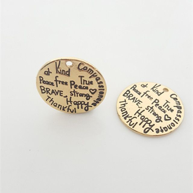 "20pcs Gold color Alloy Inspiring Message Charms ""Kind Wise Free Brave Strong ... "" Pendant Newest Diy Charm Lots For Jewelry"