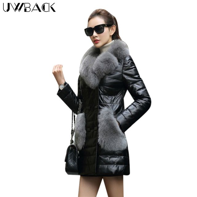 Uwback 2017 Brand Winter Faux Fur Coat Women Long Windbreaker Jacket With Fur Trim PU Leather Jackets Femme Plus Size 3XL OB331