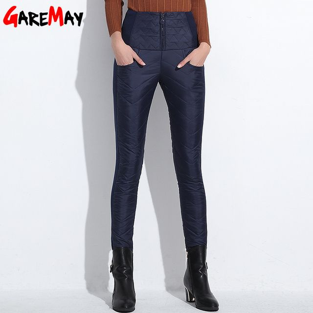 Down Pants Warm Women Elegant Trousers Elastic Waist Feminino 2016 Winter Thicken Pencil Pants High Waist Office Pants For Women