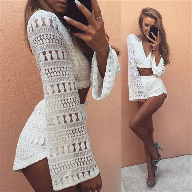 2016 2pcs Hollow Out White Lace Elegant Jumpsuit Rompers Sexy Deep V-neck Playsuit Long Sleeve Summer Women Beach Overalls