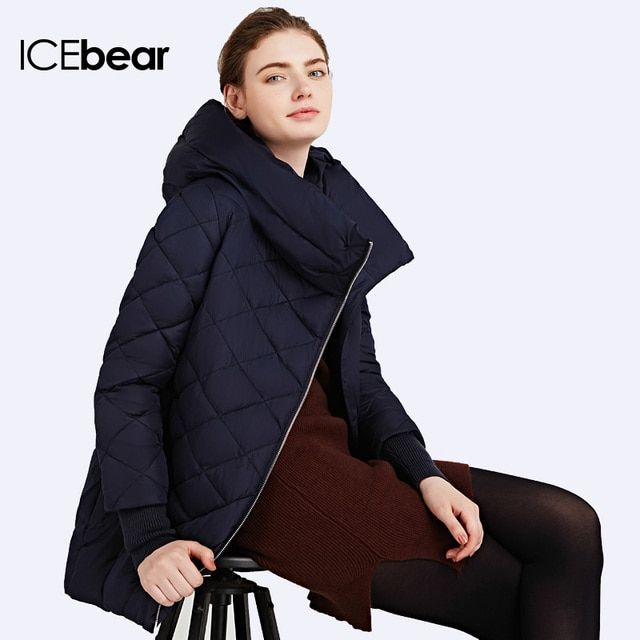 ICEbear 2017 Inclined Zipper Coats Women's Windproof Jacket High Quality Parka Woven Warm  Coat Anorak 16G6178