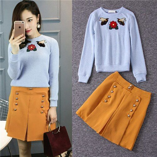 Stunning New 2016 autumn fall fashion women sweater + skirt two piece set suit famous brand bee embroidered pullover and skirts