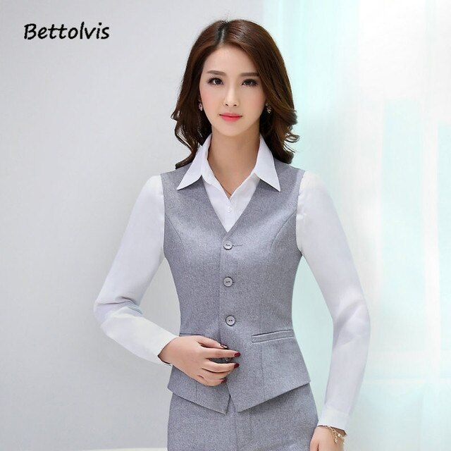 2017 Summer Fashion Women Business Suits with Skirt and Top Sets Gray Vest Waistcoat Slim Ladies Office Uniform Styles Work Wear