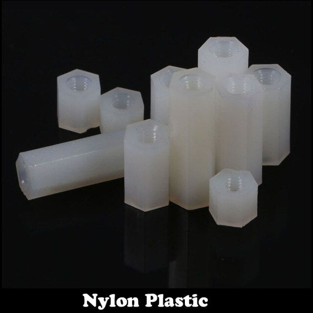12pcs M3 45mm M3*45 Dual Nut Nylon Female To Female PCB Hex White Plastic Hexagon Stand-Off Pillar Spacer Standoff