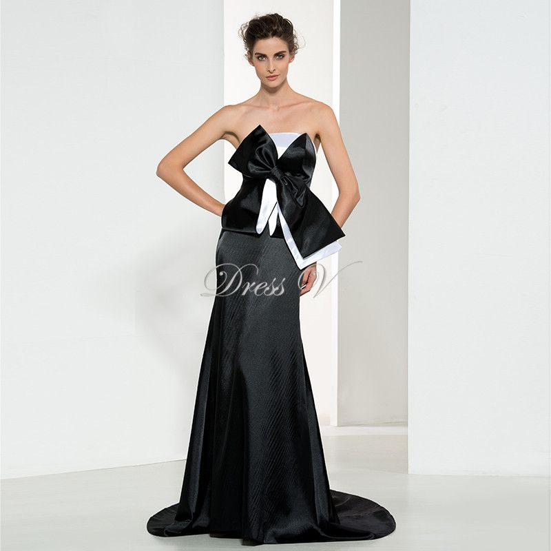 Black and White Long Celebrity Inspired Dresses Unique Bowknot Design Famous Oscar Awards Dresses Evening Dresses