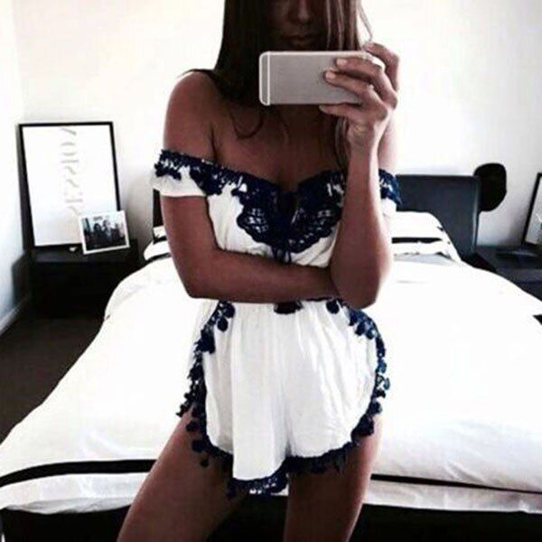 Women Sexy Clubwear Off-soulder Boat Neck Playsuit Bodycon Party Mini Jumpsuit Romper Short Trousers