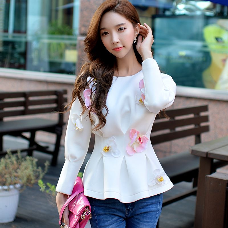 Original 2016 Brand Autumn Sweatshirt Plus Size Slim Fashion Casual Long Sleeve Flower White Women Hoodies Wholesale