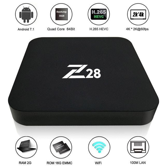 Z28 Android 7.1 TV Box RK3328 Quad Core 64Bit 2G + 16G / 1G+8G H.265 UHD 4K VP9 HDR 3D Mini PC WiFi EU/US Plug