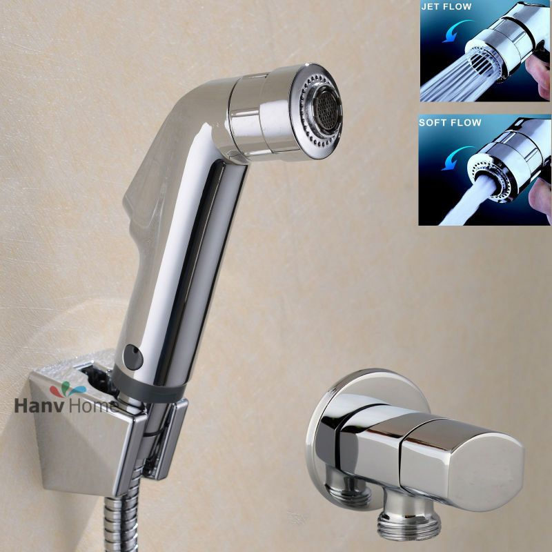 Toilet Bathroom  Hand Held Bidet Spray Diaper Shower Sprayer Set  Portable Shattaf  Jet  Douche kit &Angle Valve & Hose & Holder