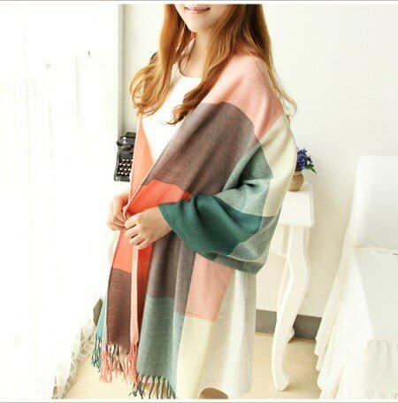 2018 Fashion cashmere scarf Women Wool Winter Scarf Women Spain Plaid Scarf Thick Brand Shawls and Scarves foulard